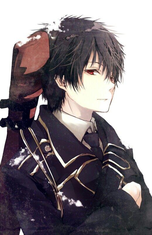 anime guy black hair uniform