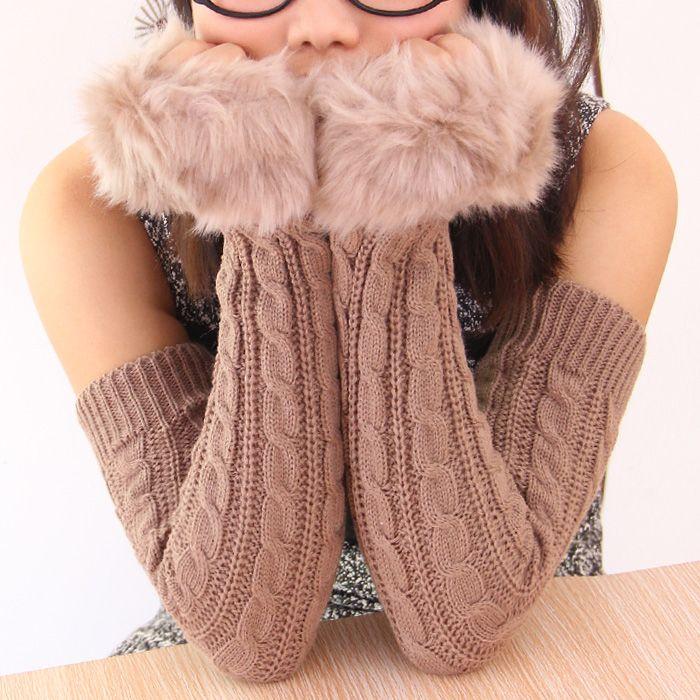 Тепловой утолщение женский зимние перчатки с втулки рукоятки дизайн трикотажные перчатки oversleeps полутвердая - палец перчатки