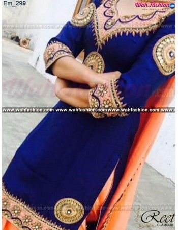 Mesmeric Navy Blue Embroidered Punjabi Suit Buy Link : http://goo.gl/RwnWJe Product Code : Em_299 For more details whatsapp us: +919915178418 We can design this Lehenga in any color combination or on any fabric (price may vary according to fabric)