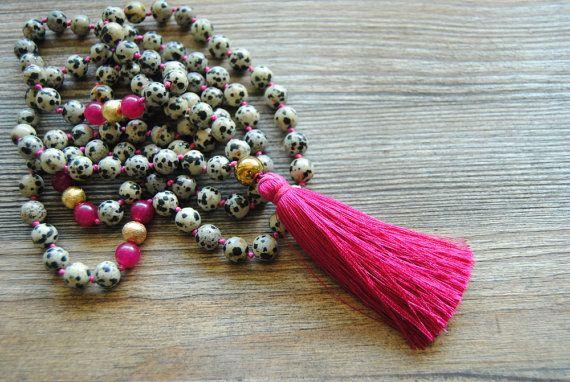 108 Mala necklace dalmatian jasper mala beads by IskraCreations