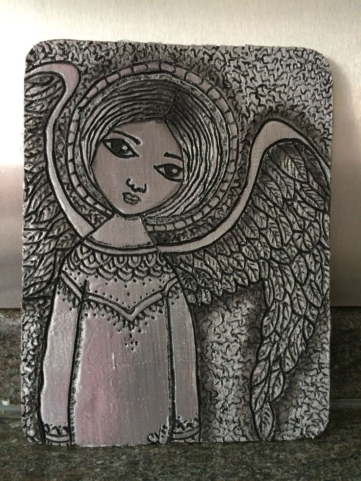 Por Carolina VP Cuadro ángel en falso repujado