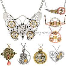 Vintage retro steampunk farfalla cuore gufo ala collana pendente di cristallo…