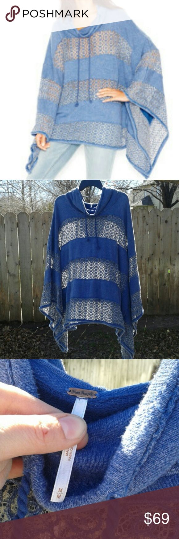 Free People peekaboo poncho Sz M, oversized in excellent used condition. I usually wear L or XL and can wear it. Light piling which is typical with this sweatshirt like material. I've only washed it in cold and air dried it. Blue color. The crochet sections are sheer. Free People Tops