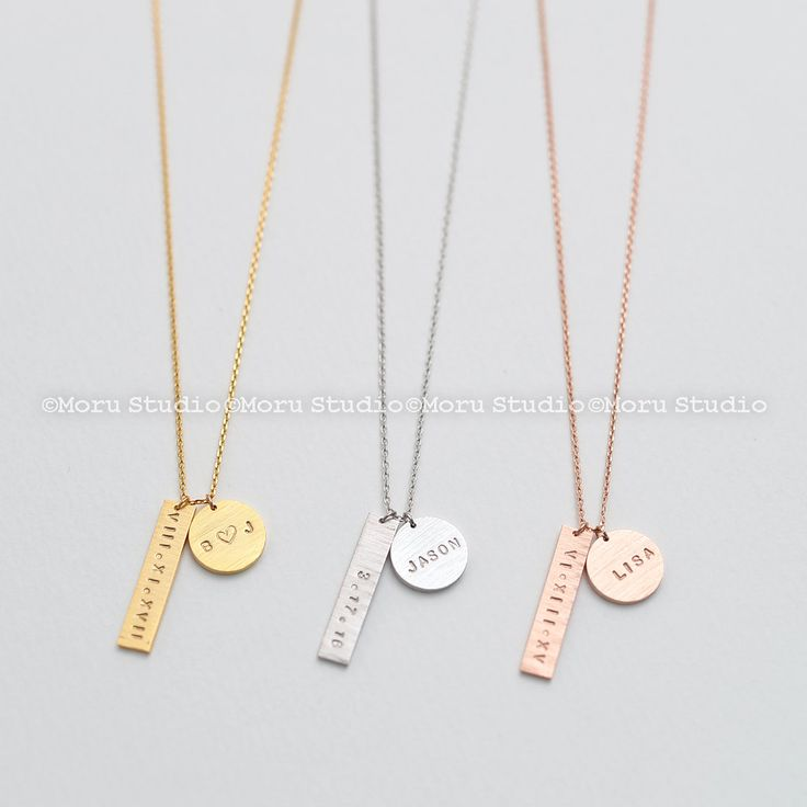 Personalized Vertical Bar Necklace with Name Disc/ Name Plate Bar, Initial Disc, Long Necklace Matinee, Handstamped Monogram Necklace NCR068 by MoruStudio on Etsy