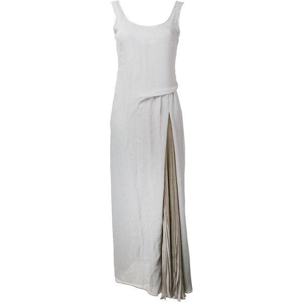 Emporio Armani Long Dress (£545) ❤ liked on Polyvore featuring dresses, grey, long maxi dresses, emporio armani, gray dress, gray long dress and long draped dress