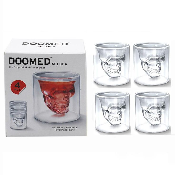 4pcs/set Double Layer Skull Shot Glass 25ml