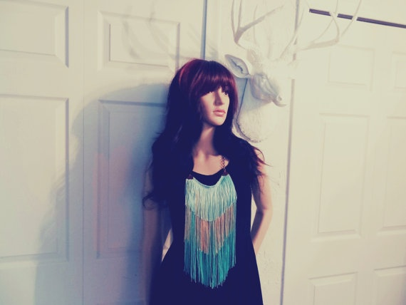 FREE SHIPPING chain fringe necklace in tropical rain by SWAGSTAG, $36.00