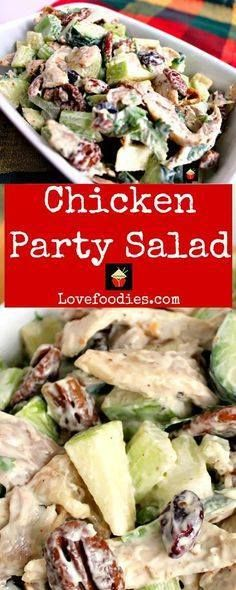 Chicken Party Salad Chicken Party Salad is a great family...  Chicken Party Salad Chicken Party Salad is a great family recipe very quick and easy to make and great tasting. Serve in lettuce wraps sandwiches on its own the skys the limit! | Lovefoodies.com Recipe : http://ift.tt/1hGiZgA And @ItsNutella  http://ift.tt/2v8iUYW