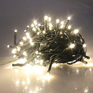RPGT Noël Guirlande lumineuse LED , 100 Blanc Chaud LEDs sur Câble Vert Foncé pour Noël, Sapin, Maison, Fêtes, Mariages, Anniversaire,…