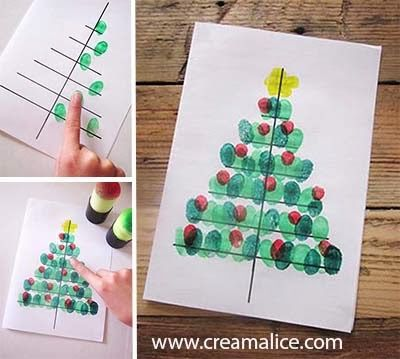 ★ ✄ DIY Carte Sapin Noël Empreinte doigts / DIY Fingerprint Christmas Tree Card ✄ ★
