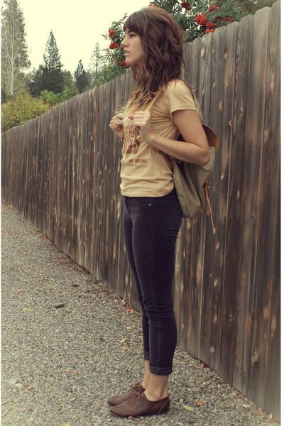 deep purple corduroy pants - neutral backpack bag - brown beatles tee t-shirt #hipsterfashion,