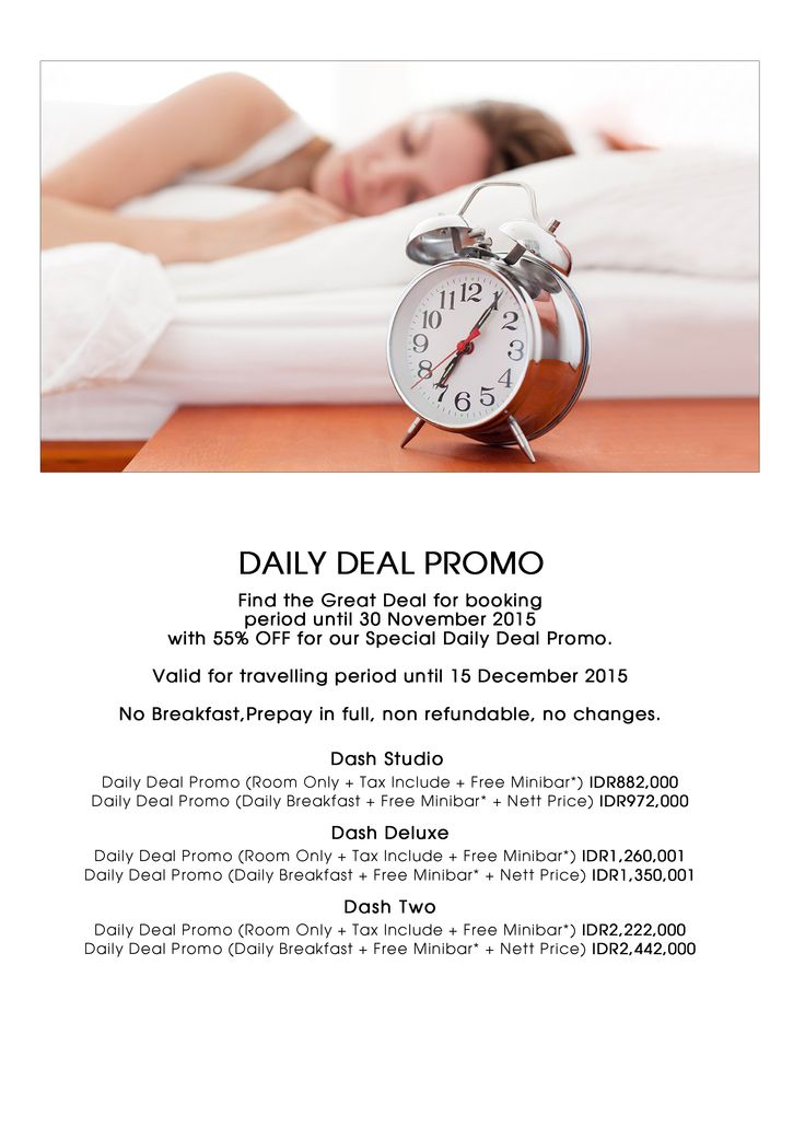 DAILY DEAL PROMO! Find the great deal for booking period until 30 November 2015 with 55% OFF for our special daily deal promo. Valid for traveling period until 15 December 2015. No breakfast, prepay in full, non refundable, no changes.  #daily #deal #promo #for #booking #dashbali #seminyak #petitenget #bali #indonesia www.dash-hotels.com