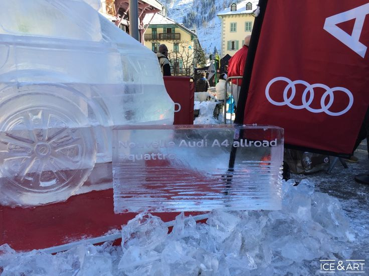 Identité visuelle marketing dans un bloc de glace - Ice & Art
