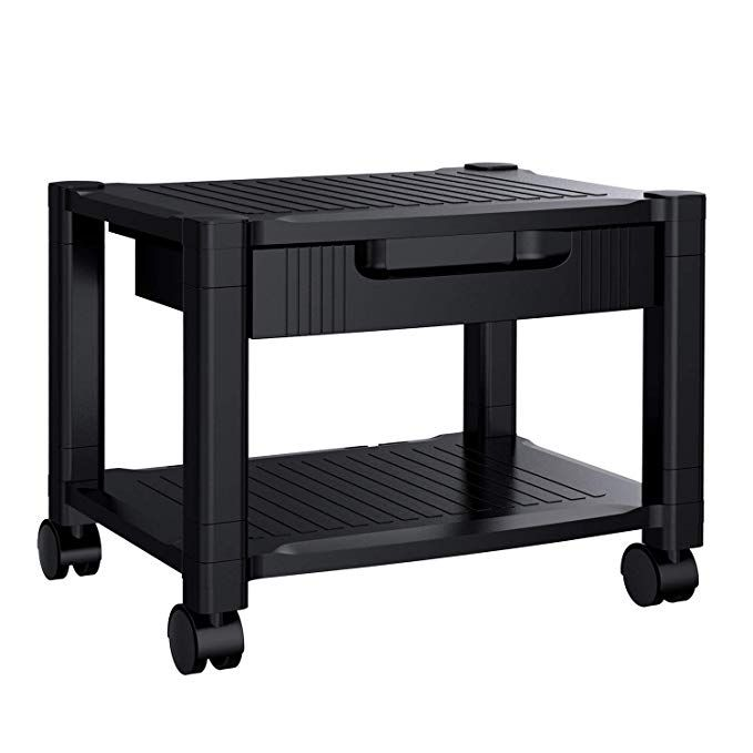 Printer Stand Under Desk Printer Stand With Cable Management Storage Drawers For Office Space Organizer Height A Printer Stand Printer Desk Printer Stands