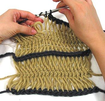 Hairpin Lace, I like the idea of running a thread through each side to keep it straight.