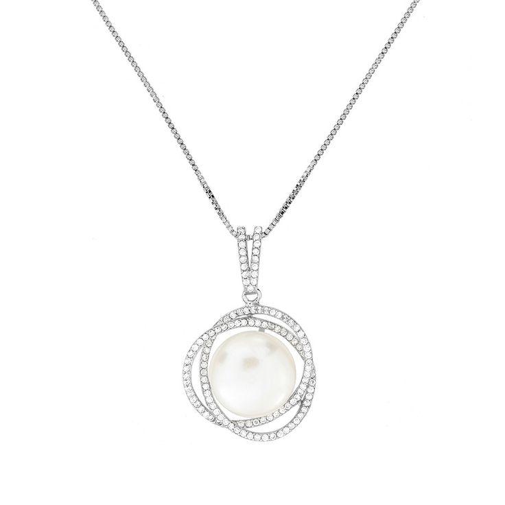 Freshwater Pearl & Pavé Rose Pendant #Silver #Pearl #Bride #BridalJewellery #PearlNecklace #WeddingJewellery