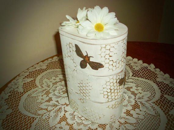 Jewelry Box Trinket Bumble Bee Decor Daisy