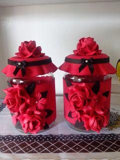 Herthal art's: vidros decorados com e.v.a rosas vermelhas