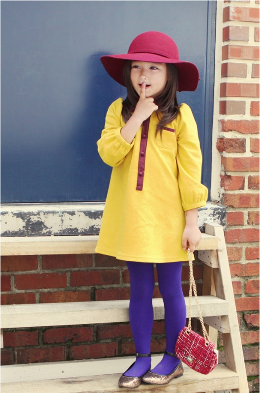 toddler outfit, kids fashion, bright pops of color, yellow dress, maroon hat, purple tights, vintage inspired