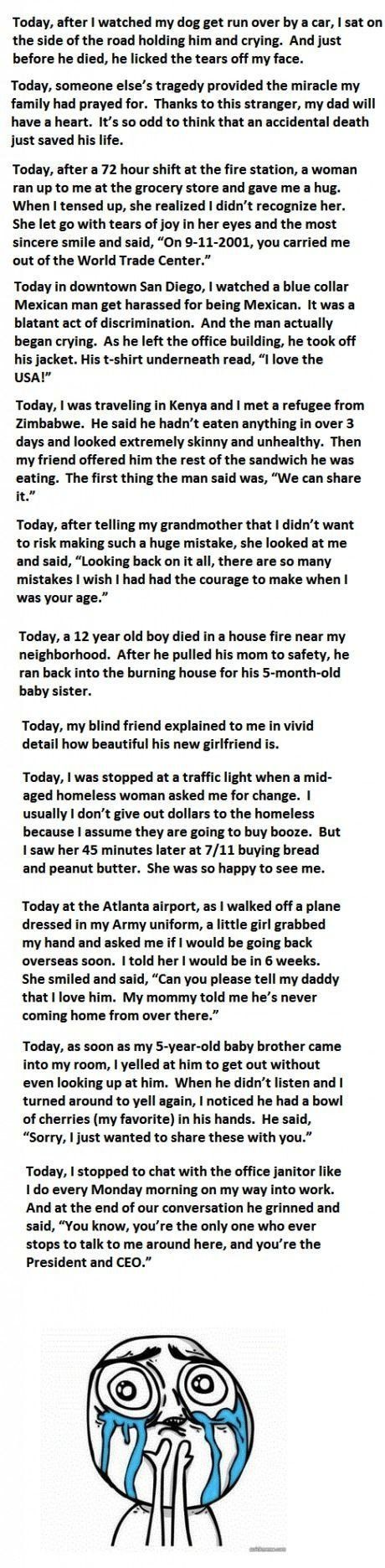 :'): Little Girls, Sad Stories, Faith In Humanity Restored, My Heart, So Sad