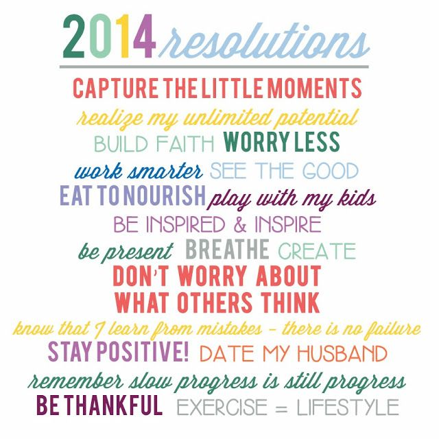 New Years Resolutions, 2014, Free Printable
