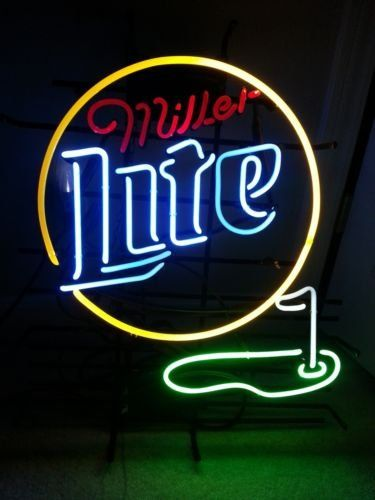MILLER LITE - GOLF Real Glass Beer Bar Pub Store Decor Neon Signs 19x15:   About Product: Eye catching, high compact! People will first notice it when they are getting close. It is an affordable, well-made item for advertisement and decoration! About Power: This cute Neon sign is made and well tested by our experienced benders. The item comes with the plug which suit for your country . About Shipping: This item will be well-packed in a foam box filled with soft paper and foam to protec...