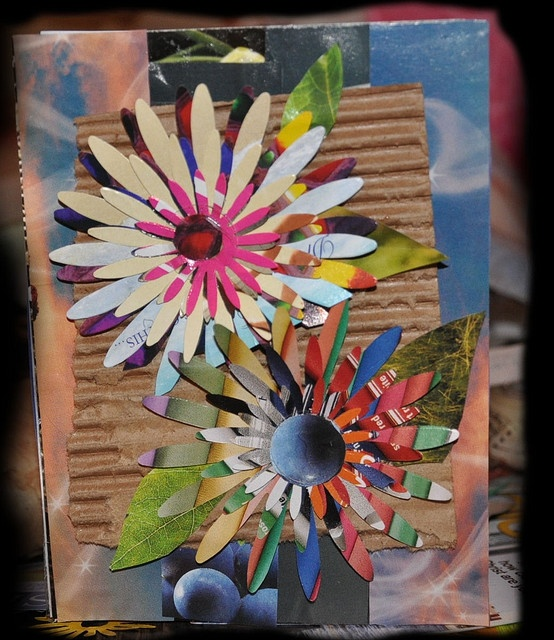 Greeting Card From Recycled Materials With Handicraft Material