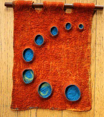 Fiber art felt aqua teal turquoise orange