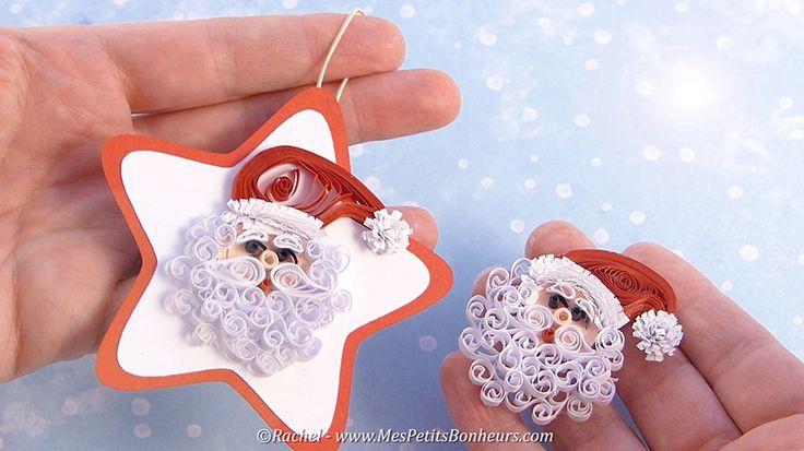 Père Noël en quilling pour décorer sapin ou carte de voeux