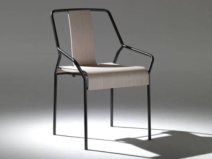 Stackable Metal Chair With Armrests DAO By COEDITION Design Shin Azumi
