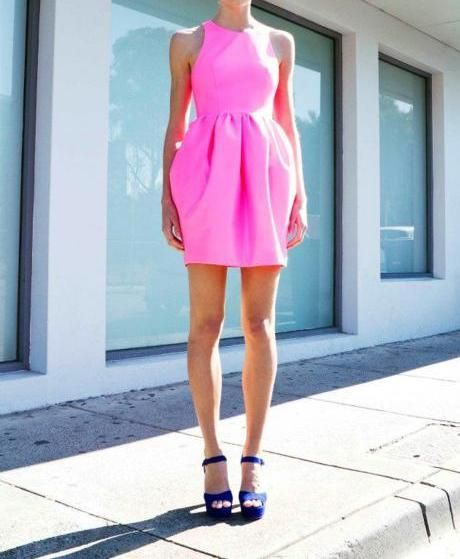 hot pink!Bright Pink, Pink Dresses, Style, Bubbles Gum, Hot Pink, Blue Shoes, The Dresses, Neon Pink, Bright Colors