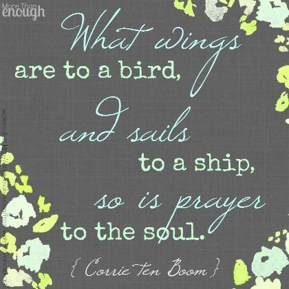 """What wings are to a bird, and sails to a ship, so is prayer to the soul."" ~ Corrie ten Boom"