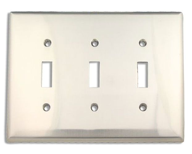ckp brand brushed nickel triple switch plate