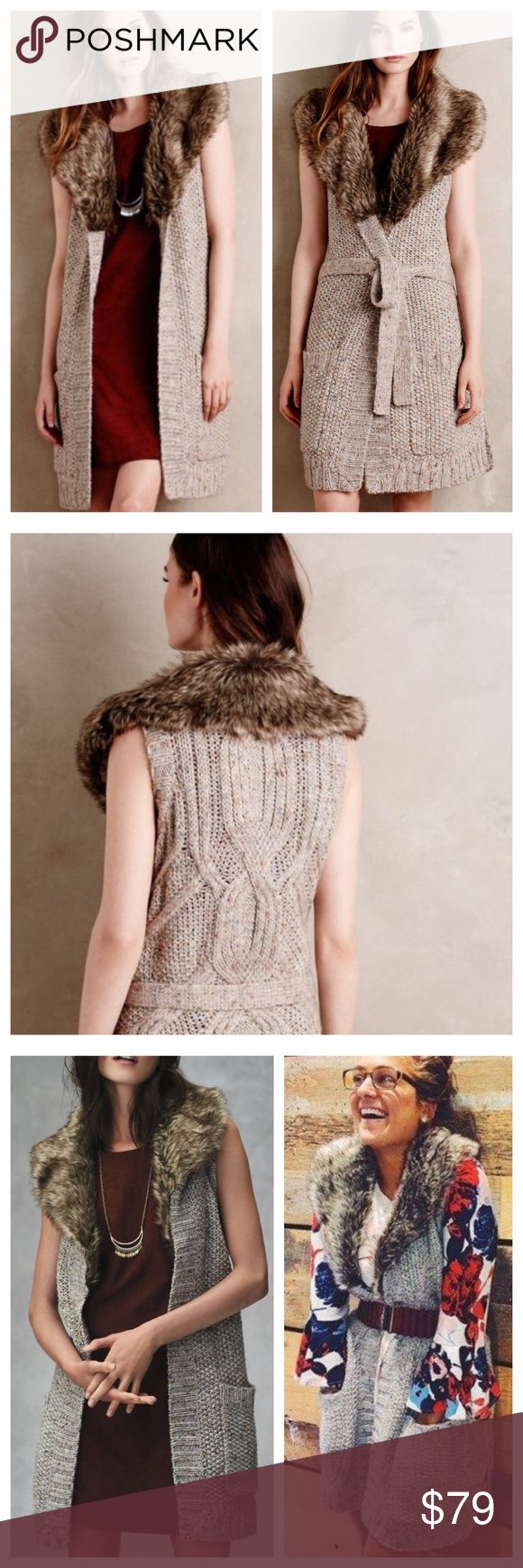 """Anthropologie Angel North Fur Collar Sweater Vest Anthropologie Angel Of The North Faux Fur Collared Sweater Vest EUC  • Sz M • Excellent pre-loved condition • Faux fur collar  • No closure • Tie at waist • 36"""" length  • I have only worn this once, and it has not been laundered, no imperfections. I really like this sweater, and am not motivated to sell this piece, but you are still welcome to make an offer. Thanks Posh family. 🦋 Anthropologie Jackets & Coats Vests"""