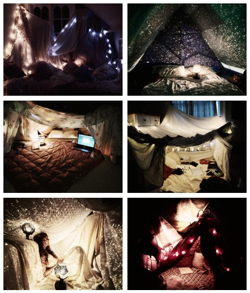 These Blanket Forts look like fun!!! Dig the lights.