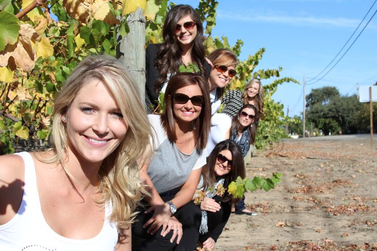 Best friends group picture Napa Valley vineyard