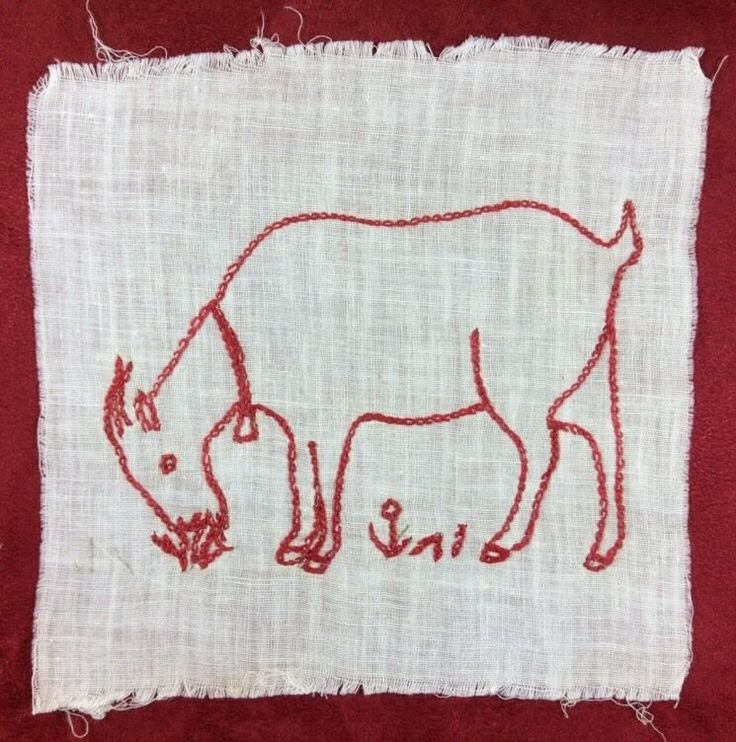 Vintage Goat Redwork Embroidery On Linen Quilt Block Square Use Or Repurpose