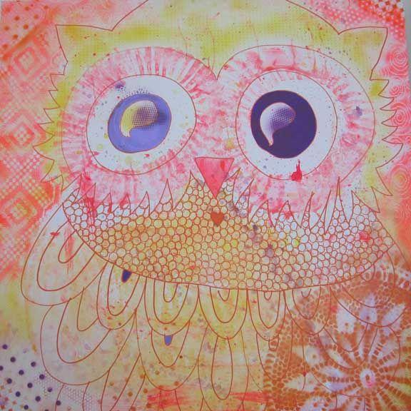 """""""Kan man kramme en ugle?"""" mixed media maleri. Akryl og spraymaling på lærred 100x100cm. Malet af Susanne Randers"""