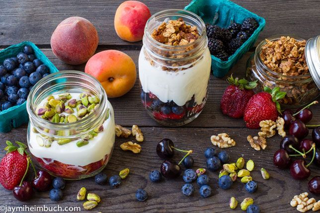 All you need is a selection of your favorite fruits, some plain Greek yogurt, and a topping of your choice. Oh, and the jar to hold it all!