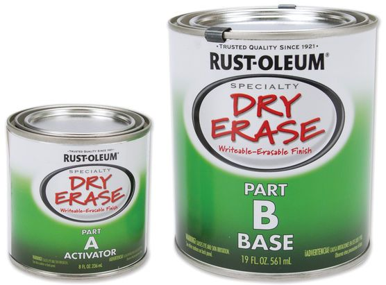 RUST-OLEUM-Dry Erase Paint. First there was chalkboard paint and magnetic paint, now they have introduced a dry erase paint. This would be great for a childs bedroom, playroom, or home office. It is d