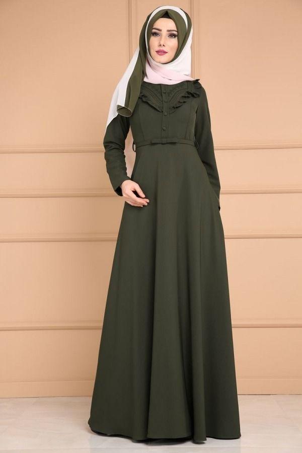 Firfir Detay Tesettur Elbise Mds2030 Haki Fashion Womens Fashion Dresses