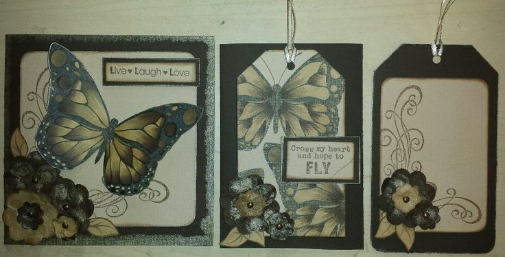 Kaszazz cards and gift tag butterflys and alcohol markers