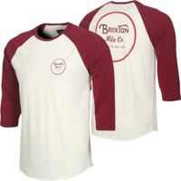 Brixton Wheeler 3/4 Sleeve T-Shirt - cream/burgundy