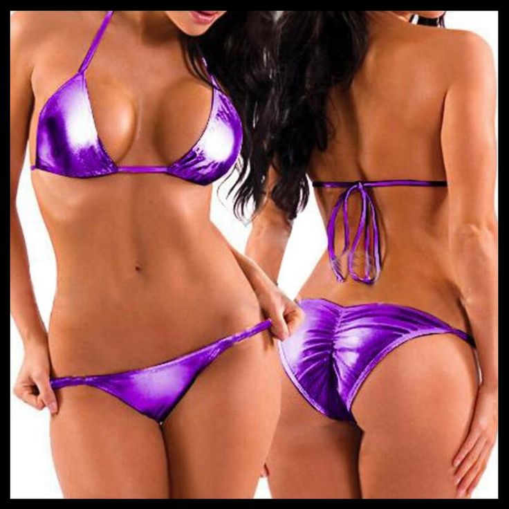 Sexy Women Two-Piece Smooth Patent Paint Bikini Swimsuit Mini Triangle Thongs+Bra Tops,Lacing Adjust Cute Bathing Suit Swimwear