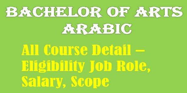Bachelor Of Arts Arabic Eligibility Scope Syllabus College