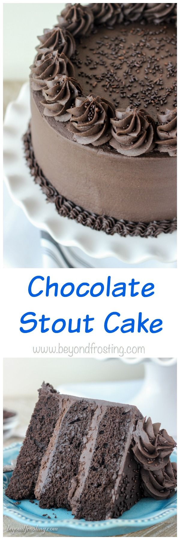 """This Decedent Chocolate Stout Cake is a dark chocolate cake spiked with chocolate stout beer. It's topped with a mouthwatering dark chocolate frosting. This rich chocolate cake is best accompanied by a big glass of milk. 
