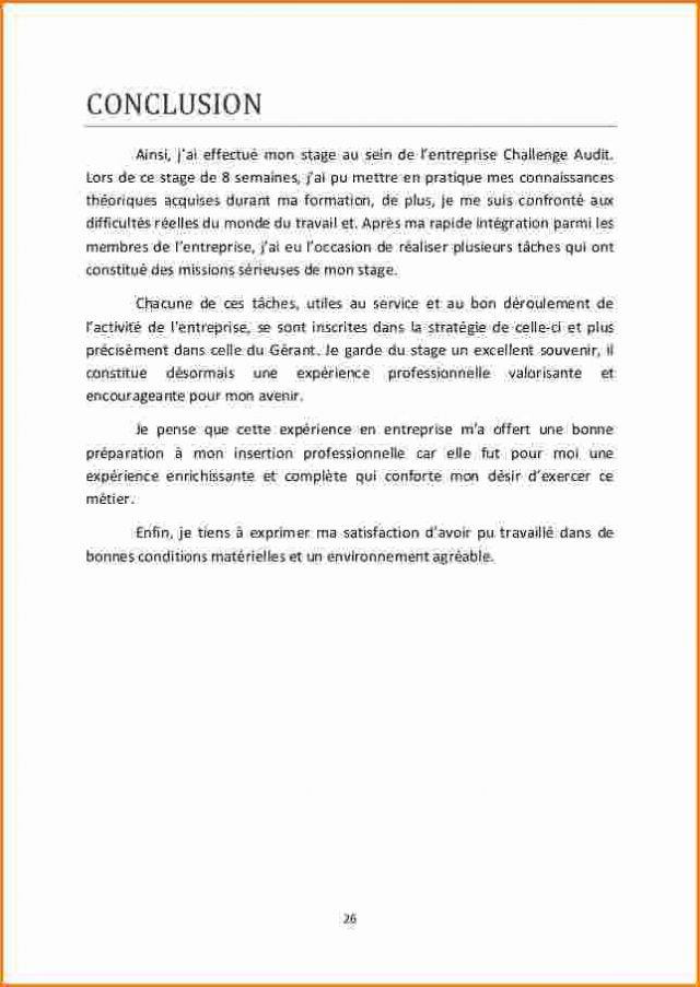 15  exemple conclusion rapport de stage