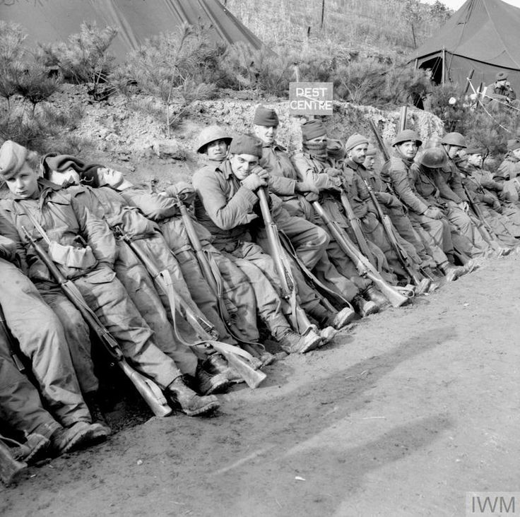 THE KOREAN WAR 1950 - 1953 After the Battle of The Hook, soldiers from the 1st Battalion, The Black Watch relax at a rest centre and wait to be transported back to the front.