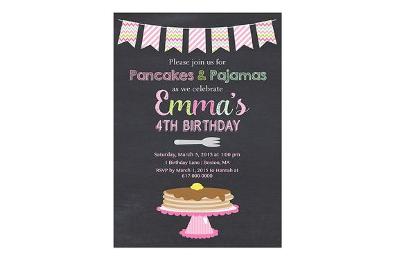 Pancakes and Pajamas Party Invitation by DesignedbyGeorgette