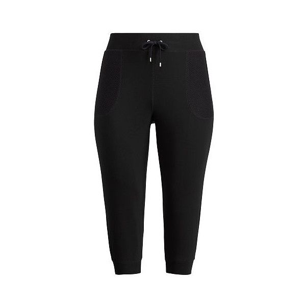 Ralph Lauren Lauren Woman Cropped Skinny Sweatpants ($50) ❤ liked on Polyvore featuring plus size women's fashion, plus size clothing, plus size activewear, plus size activewear pants, skinny sweat pants, ralph lauren activewear, skinny leg sweat pants, super skinny sweatpants and cuff sweatpants